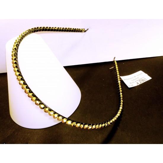 Čelenka do vlasů kovová zdobená krystaly zlatá A290