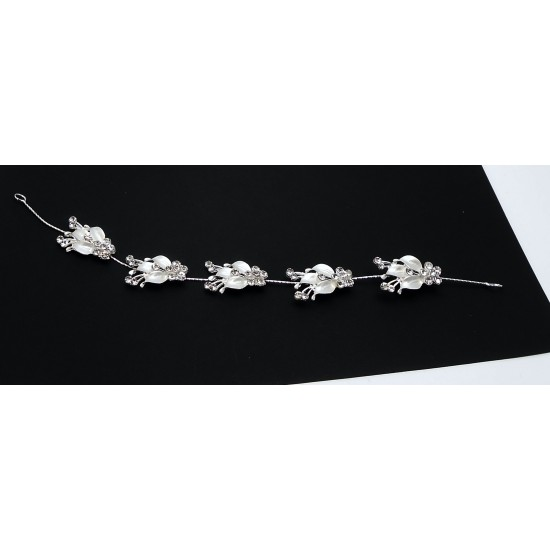 Aplikace do vlasů kovová květy stříbrné se zirkony AP10