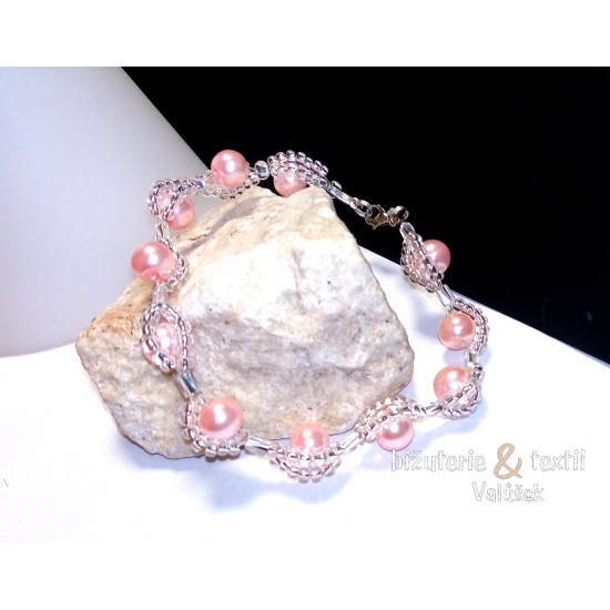 Náramek Aurélia perličkový růžový NR13